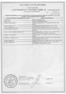 5. Приложение к сертификату Danfoss. Лист 4